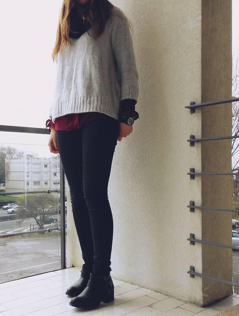 OOTD \ Black, grey and burgundy