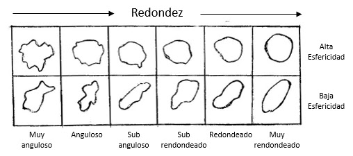 En resumen, la esfericidad se relaciona con la proporción entre el largo y el ancho de los sedimentos, y la redondez se mide por la curvatura de los bordes de las partículas.