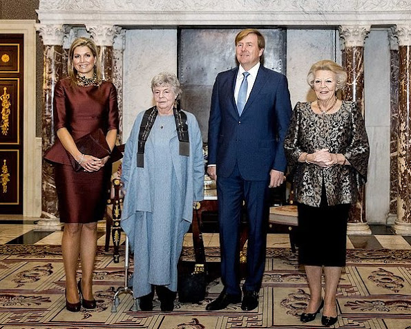 Queen Maxima wore Natan Dress, L.K. Bennet Leather shoes, Natan necklace at Erasmus Prize (Erasmusprijs)