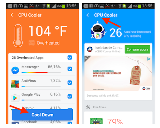 Evitando que aplicativos sobrecarreguem o processador de um smartphone Android com o Super Booster Clean Boost