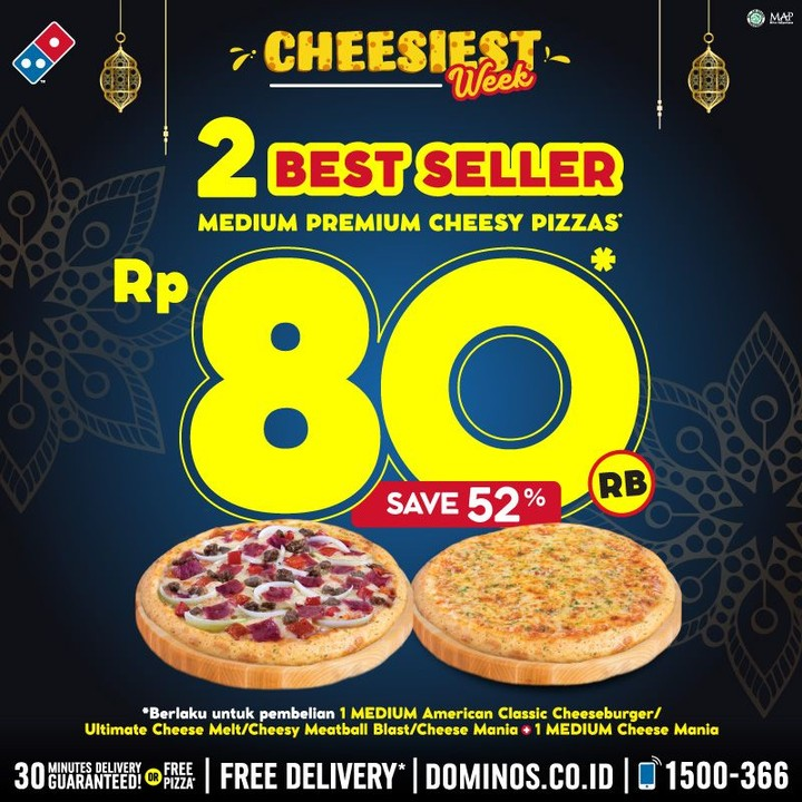 Promo Domino's Pizza Beli 2 Best Sellers Medium Premium Cheesy Pizzas Hanya Rp 80Ribu!