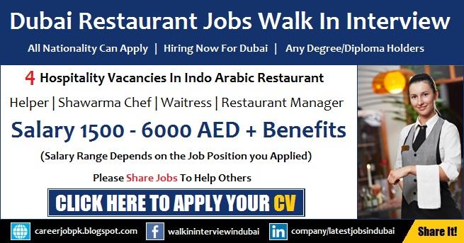 Restaurant Jobs in Dubai Walk in Interview Latest Jobs