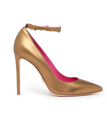 oscar tiye rania bronze metallic ankle strap high heeled pumps