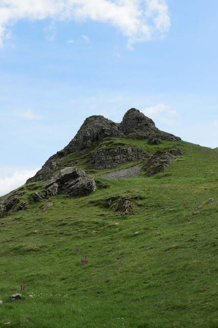 A steep green hillside leading up to an outcrop of limestone.