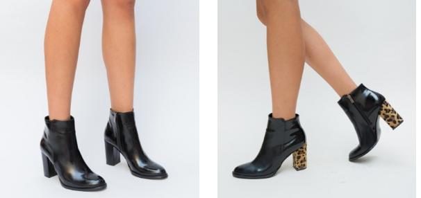 Botine negre cu toc inalt si gros moderne si frumoase la moda 2019