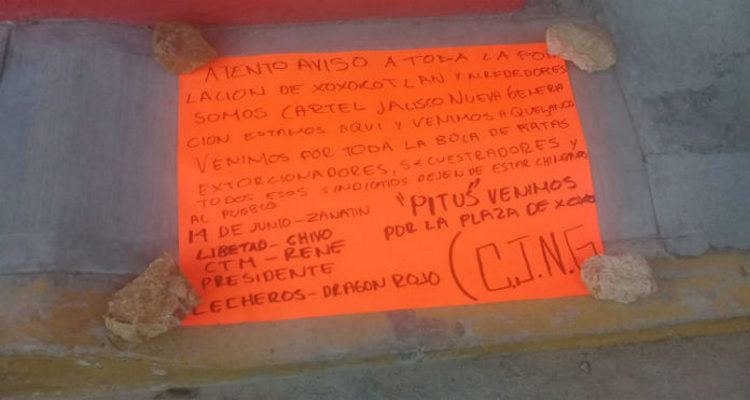 """""""Estamos aquí y venimos por toda la bola de ratas"""", CJNG deja narcomensaje en kinder de Oaxaca"""