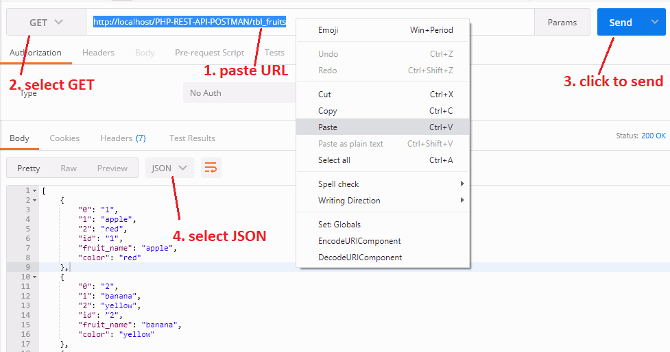 REST API URL paste into the Postman tool and using the HTTP GET method getting MySQL data in JSON format.