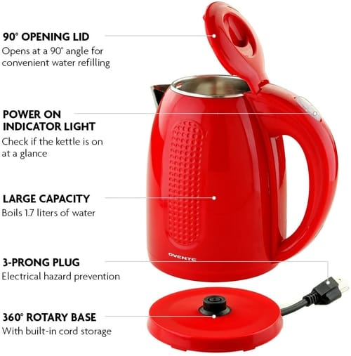 Ovente KD64R Electric Hot Water Kettle