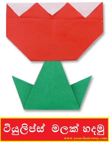 ටියුලිප්ස්  මලක් හදමු (Origami Tulips) - Your Choice Way