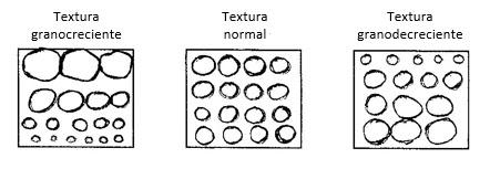 La distribución de tamaño de los granos en un tercer parámetro textural de gran importancia. Se refiere a la distribución vertical del tamaño de las partículas, a lo largo del espesor del estrato bajo consideración