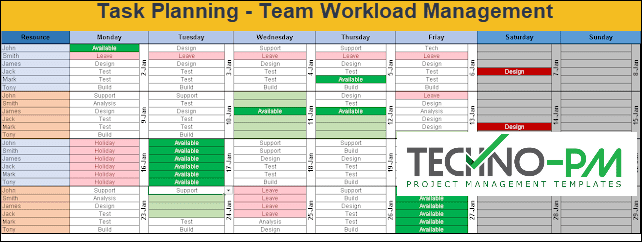 Task planning, workload management, team calendar template