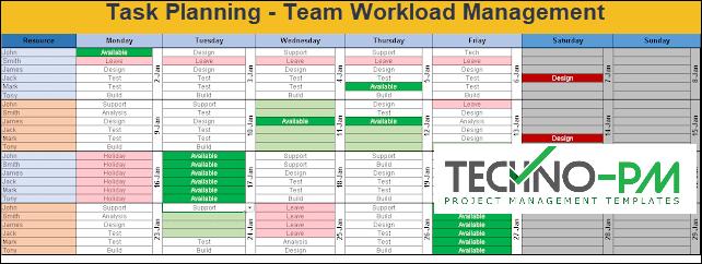 Task planning, workload management, team calendar template