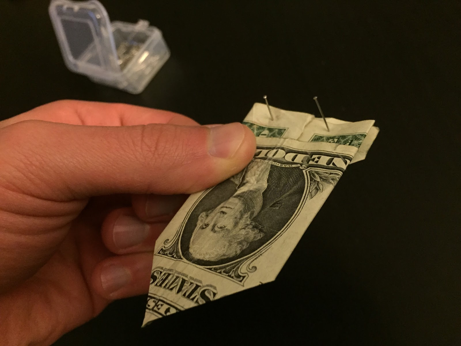 folded dollar bill for money tree