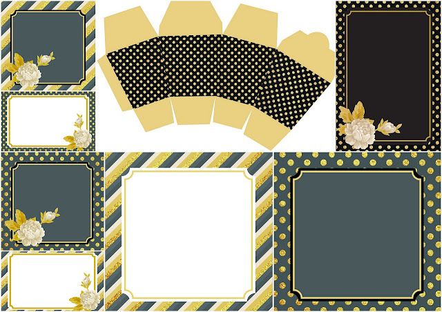 Golden and Black Flowers: Free Printable Wedding Kit.