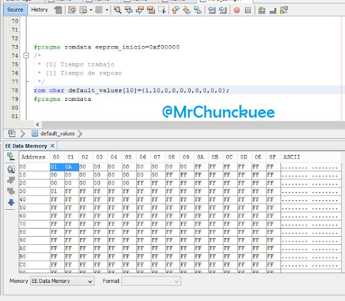 MPLAB X & XC8: Cargar valores en la EEPROM al momento de programar el microcontrolador