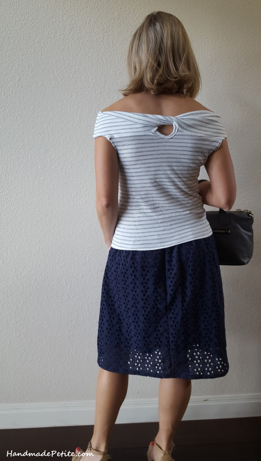 Handmade outfit - knit striped twist top and eyelet knee skirt back view