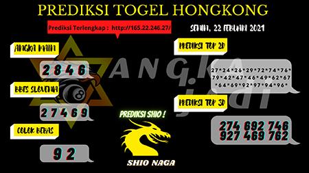 Prediksi Angka Jitu HK Senin 22 Februari 2021
