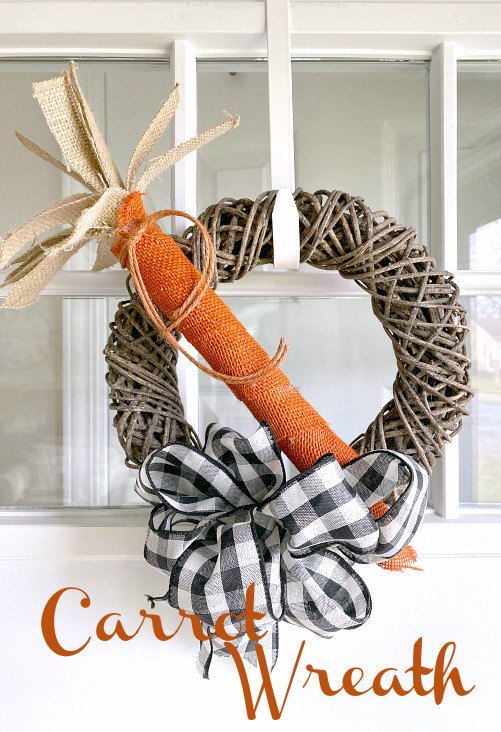 DIY Carrot wreath for the front door using burlap