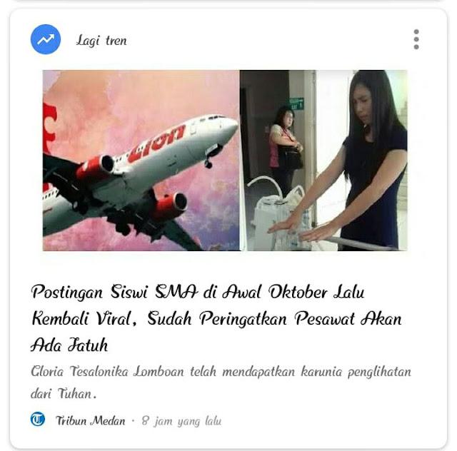 2 Oktober 2018, Gadis Ini Tulis Status di Facebook Mengaku Dapat Penglihatan akan Ada Pesawat Jatuh