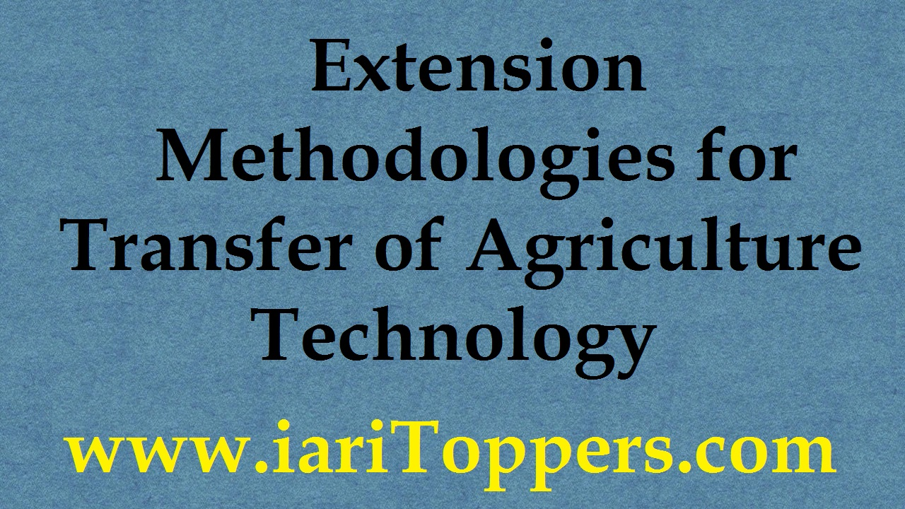 Extension Methodologies For Transfer Of Agricultural Technology ICAR E course Free PDF Book Download e krishi shiksha