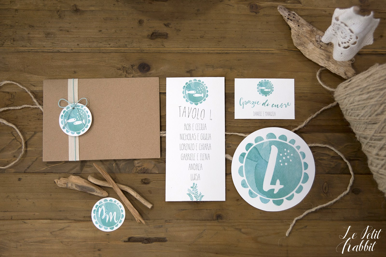 Watercolor Wedding Suite Summer Sea Le Petit Rabbit