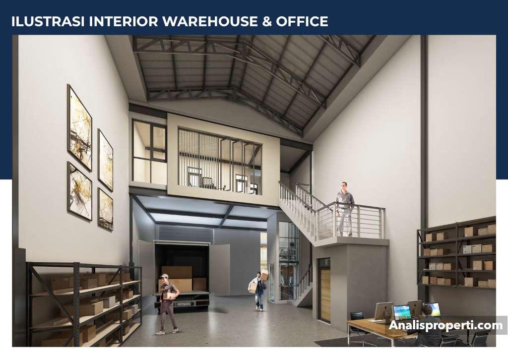 Ilustrasi Interior Warehouse dan Office Bizpark PIK 2 Jakarta