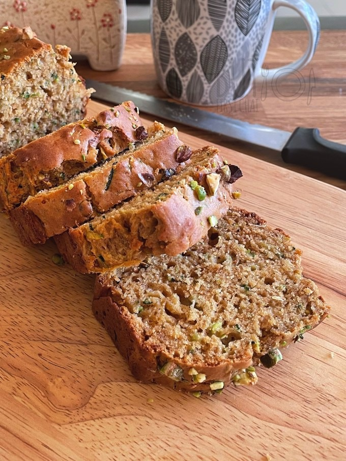 Zucchini Quick Bread with date syrup loaf sliced shot