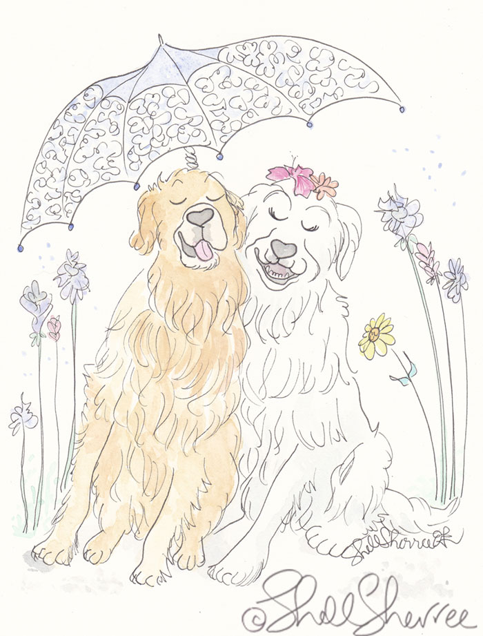 Puppy Love and Smiles pet illustration  © Shell Sherree all rights reserved
