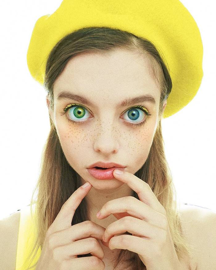 young Ukrainian Maria Oz, a visual artist and model with extraordinarily eyes