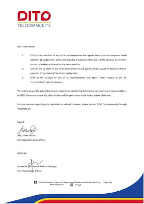 DITO Telecommunity Land Acquisition Guidelines