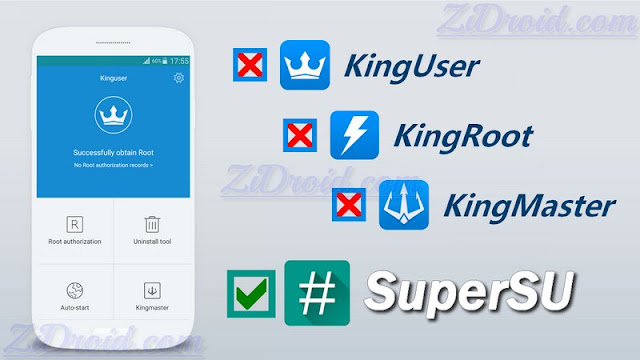 حذف برنامج kinguser وتعويضه بتطبيق SuperSU لادارة الروت على اندرويد
