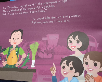 Inside page showing 2 children and mother at greengrocers with various vegetables