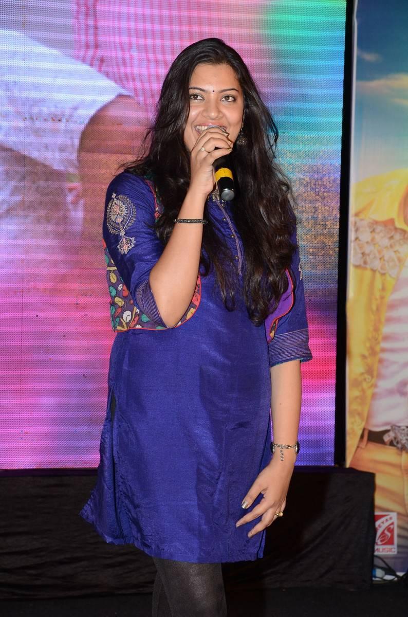 Singer Geetha Madhuri Photos At Movie Audio Launch In Blue Dress