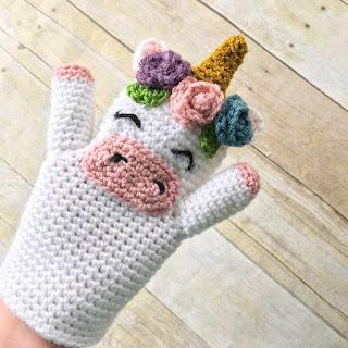 crochet unicorn hand puppet