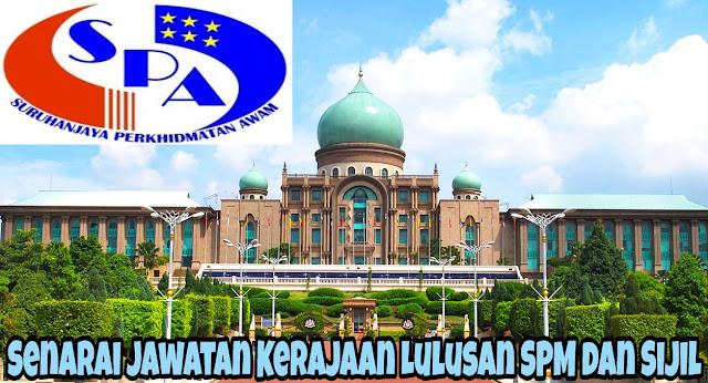 Senarai Jawatan Kerajaan Lulusan SPM dan Sijil