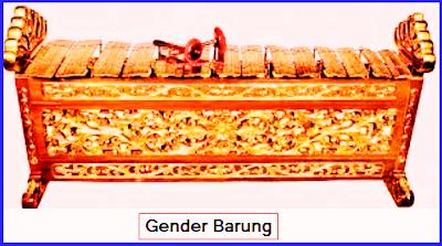 Gender Barung. Gender Barung dibuat dari bahan pokok kuningan, perunggu, atau besi. Kayu jati sebagai rancakan, benang sebagai pluntur, hal, seng sebagai bumbungan. Nada-nada pada Gender Barung adalah dari nada 6 nada besar. (enem titik dua bawah) sampai 3 (tiga titik dua atas).
