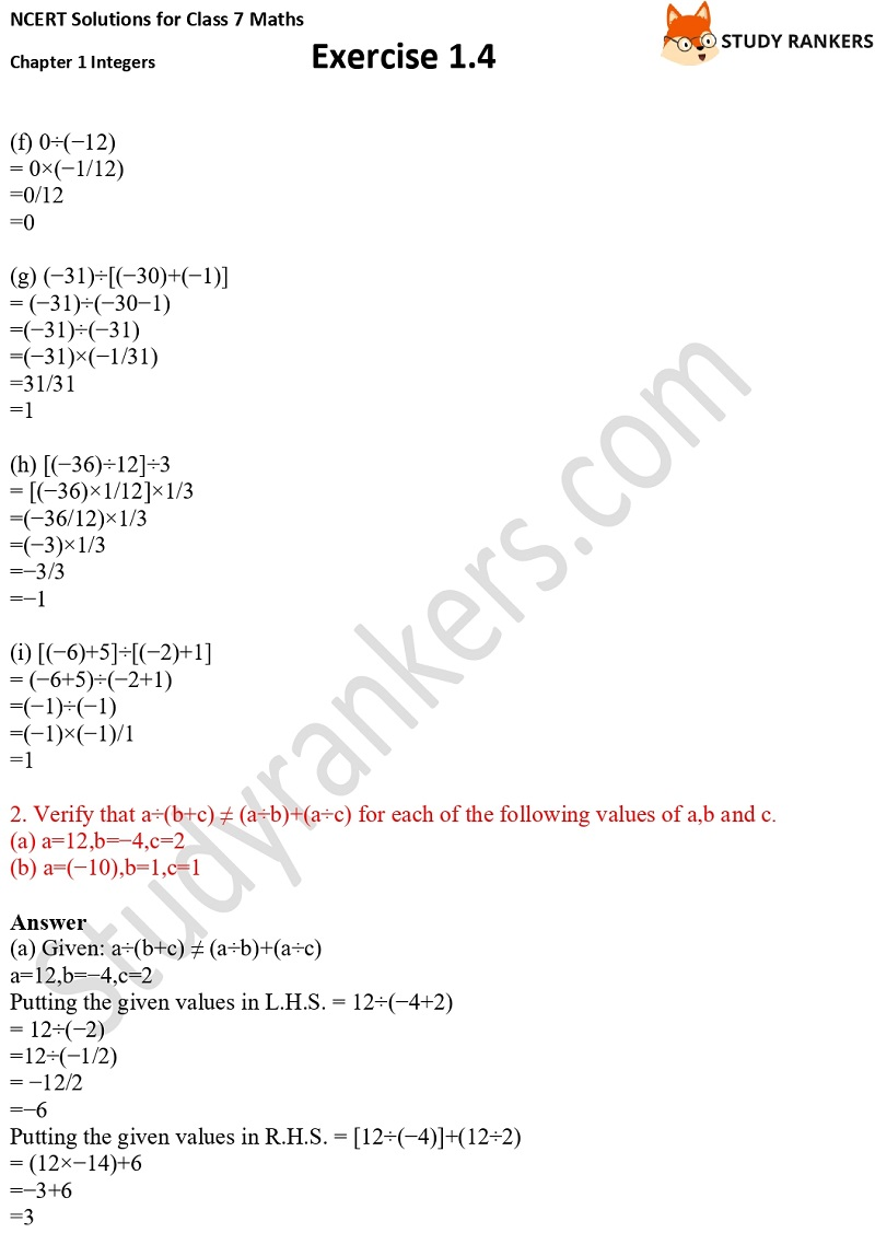NCERT Solutions for Class 7 Maths Ch 1 Integers Exercise 1.4 2