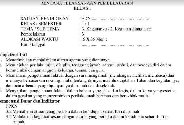 RPP Kurikulum 2013 Kelas 1 Revisi 2016 Tema 3 Sub Tema 2 Pembelajaran 2 Download