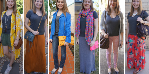 6 ways to wear a dark grey tee with colourful pieces in your outfit | away from blue