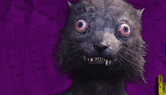 Imagem: um fundo pontilhado roxo com a figura do Fuinha do filme, uma criatura de pelos cinzentos, olhos enormes e estrábicos e dentes afiados.