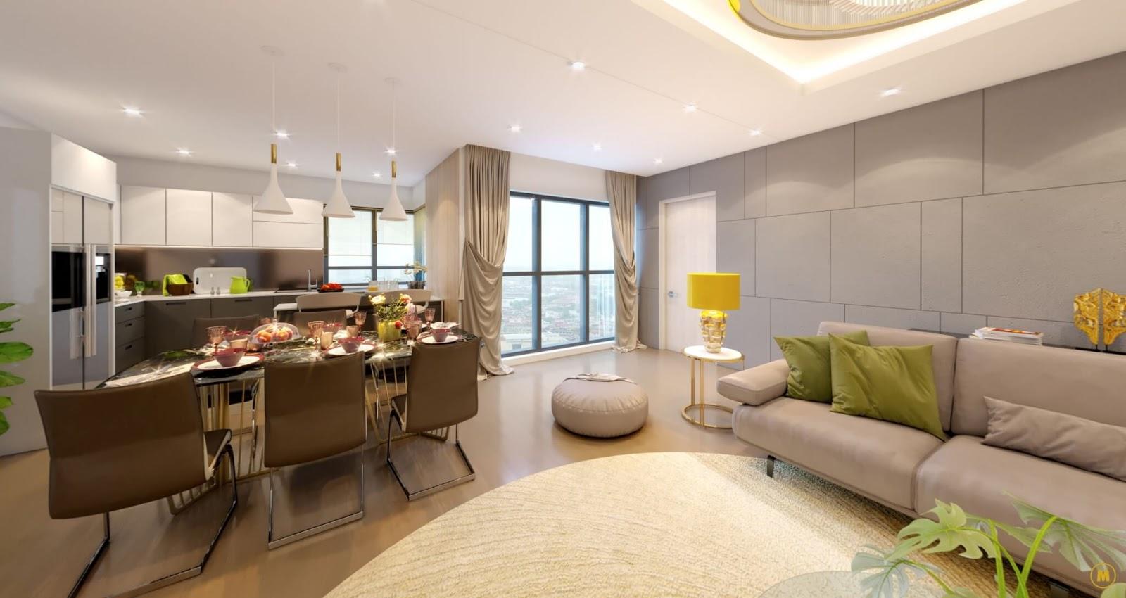 Phòng khách căn A5 dự án Amber Riverside