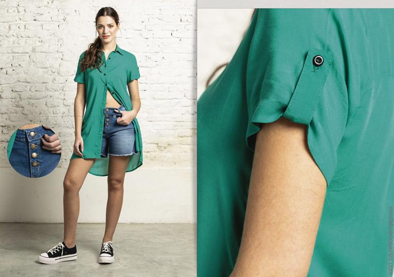Camisas y camisolas primavera verano 2020 con shorts de jeans con botones. Moda primavera verano 2020.