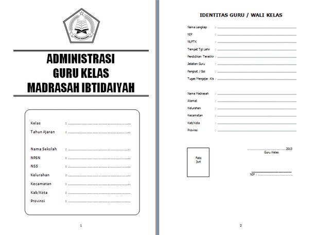 Administrasi Guru Kelas MI (Madrasah Ibtidaiyah) Lengkap