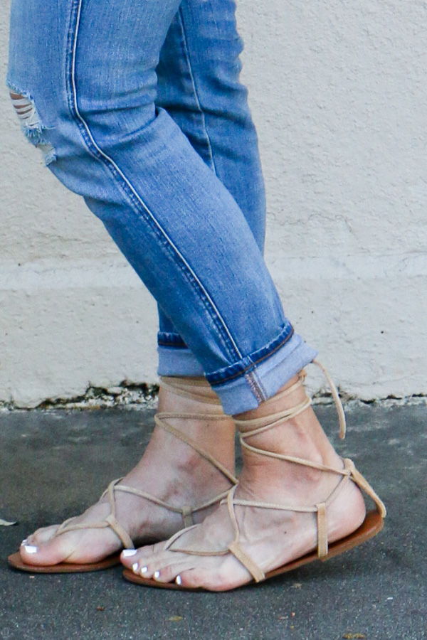 tan suede lace up sandals