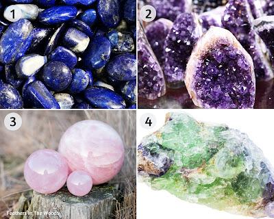 Lapis lazuli, rose quartz, amethyst & alexandrite natural stones