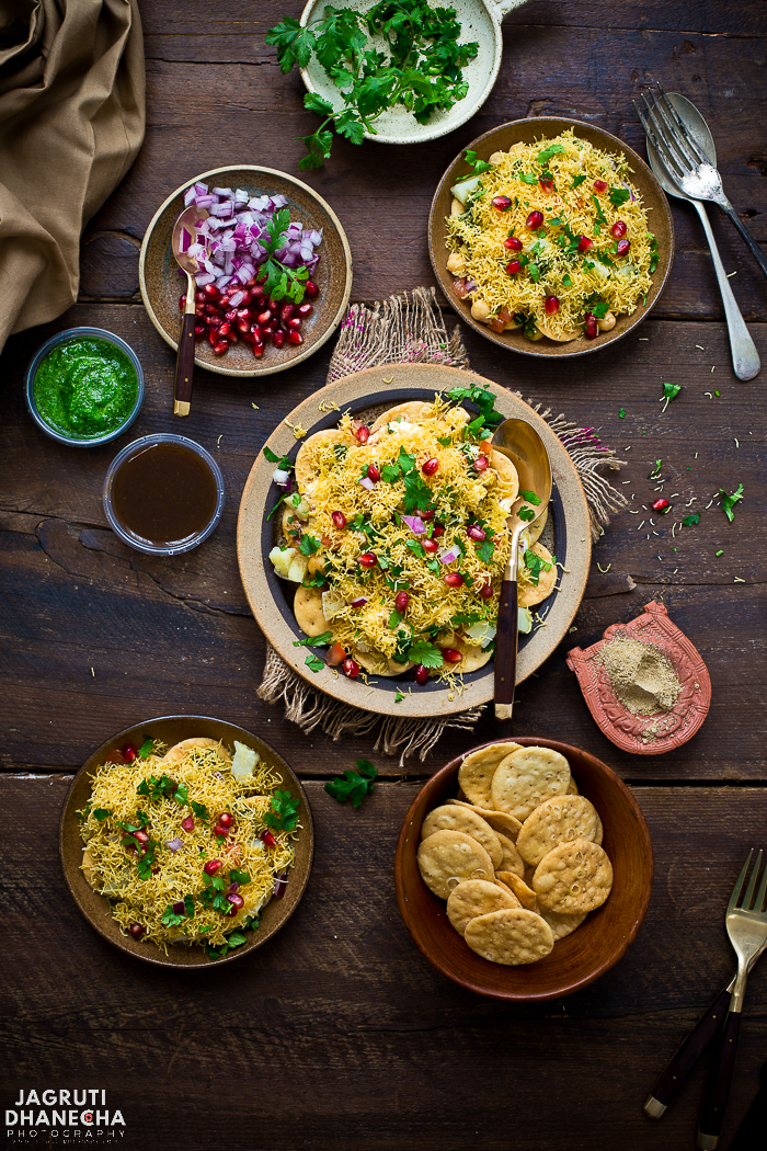 Papdi chaat is an Indian street food, chaat is a combination of complementing and contrasting textures and flavours. Papdi chaat is crunchy, spicy, tangy and sweet and can be eaten as an evening snack or as a great alternative to a meal.