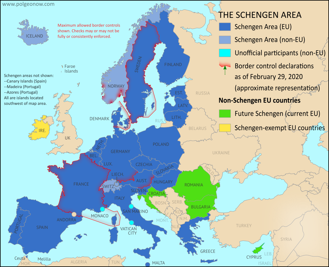 Schengen borders map showing temporary reintroduction of border controls in the Schengen Area (the European Union's border-free travel zone) as of February 2020, showing internal Schengen borders closed to passport-free travel just before the surge of new border controls enacted for the coronavirus outbreak. Map is also accurate for most of the period from from late 2019 through early 2020, and similar to the situation in 2018.