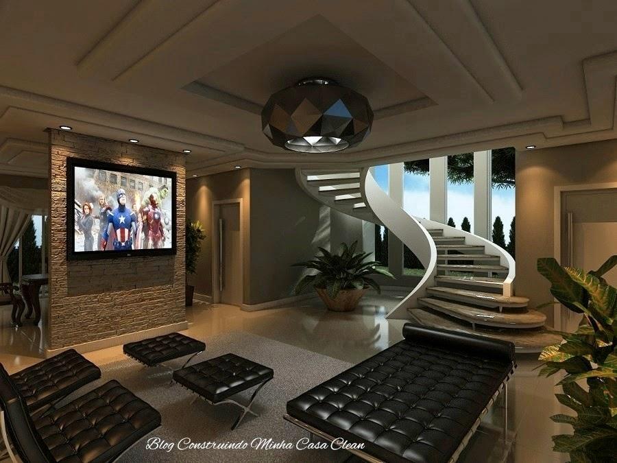 Construindo minha casa clean 30 salas de estar decoradas for Modelos de salas de estar para casas