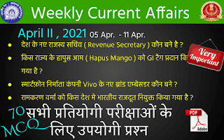Weekly Current Affairs ( April II , 2021 )