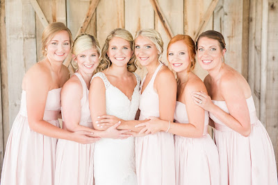 Rustic barn wedding meets vintage fairy tale. Meadow Creek Farm North Alabama Wedding Venue. Vintage Beauty and the Beast inspired wedding reception decoration ideas. Vera Wang bridesmaid dress. Lace, mermaid style wedding gown. Bridal party, bridesmaids pose